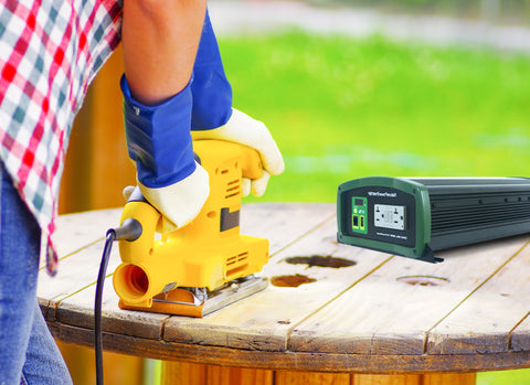 Nature Power 12V 1000W Pure Sine Wave Inverter providing energy to a small power tool