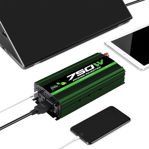 Nature Power 12V 750W Portable Power Inverter with a USB port connected charging a phone
