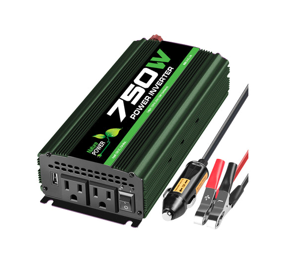 Nature Power 12V 750W Portable Power Inverter with accessories