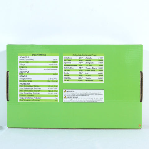 Nature Power 12V 750W Portable Power packaging back with specifications