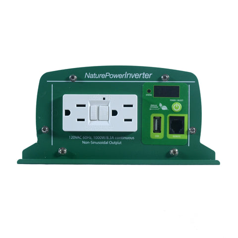 Nature Power 12V, 1000W Modified Sine Wave Inverter 2 AC power outlets and a USB port