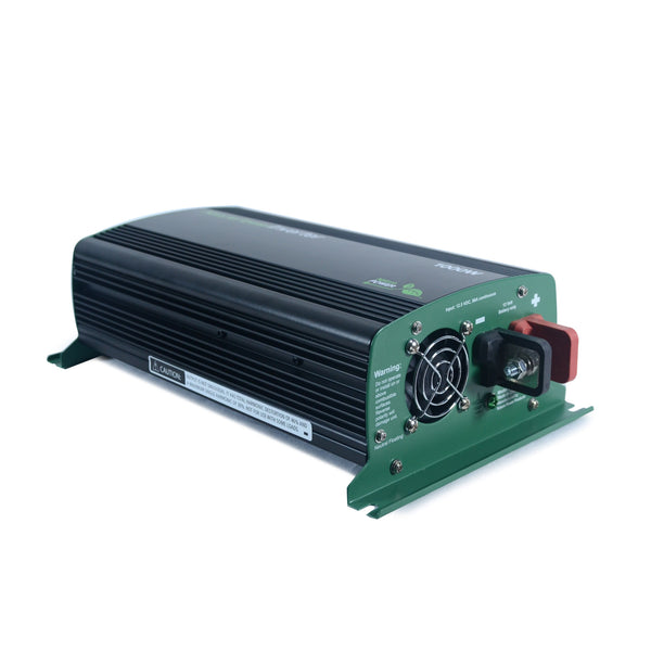 Nature Power 12V, 1000W Modified Sine Wave Inverter angled back battery connection view