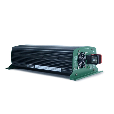 Nature Power 12V, 1000W Modified Sine Wave Inverter angled side view back fan and DC battery connector