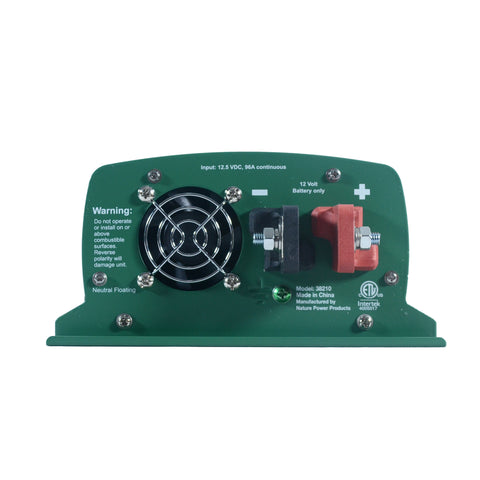 Nature Power 12V, 1000W Modified Sine Wave Inverter close-up to back fan and battery DC connector