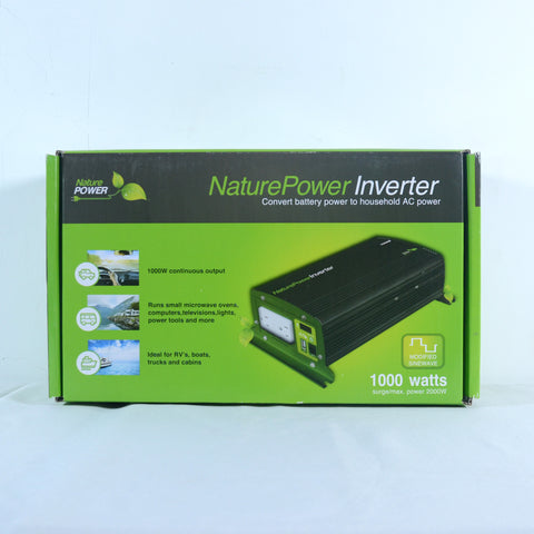Nature Power 12V, 1000W Modified Sine Wave Inverter front packaging features