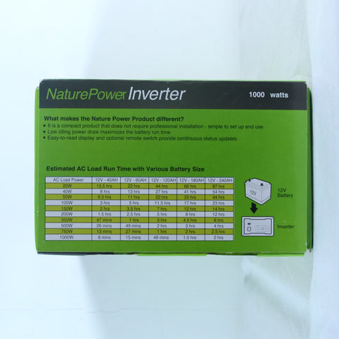 Nature Power 12V, 1000W Modified Sine Wave Inverter packaging specs