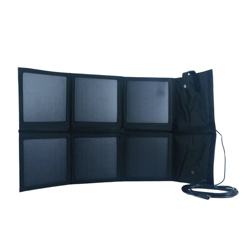 Nature Power 18 Watt Foldable Solar Panel unfolded with connector accessory