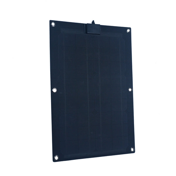 Nature Power 25W Semi-Flex Monocrystalline Solar Panel for 12V Charging Front Angle
