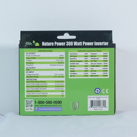 Nature Power 300 Watt Power Inverter Packaging back with specifications