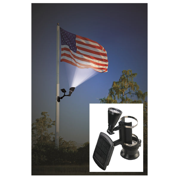 Nature Power 4-LED Solar Flag Pole Light with a Flag Illuminated by it
