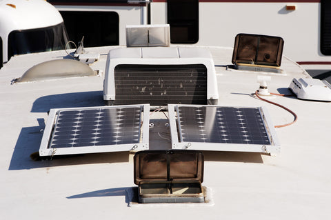 Nature Power 90W Monocrystalline Solar Panel installed on top of RV