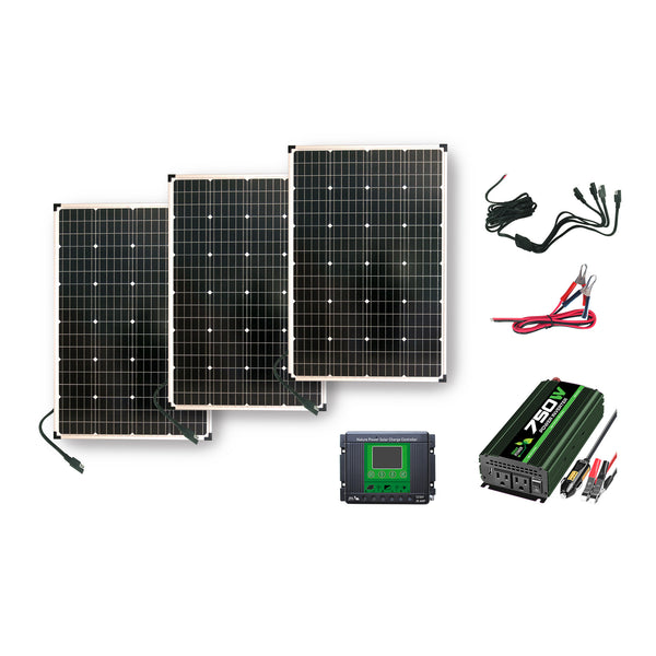 Nature Power Solar Power Kit - 330W of Solar, 750W Power Inverter and 30Amp Charge Controller