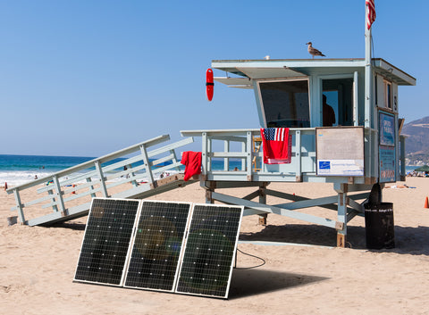 Nature Power Solar Power Kit 330 Watts - Solar Panels installed on a country house powering a Lifeguard Cabana at the beach