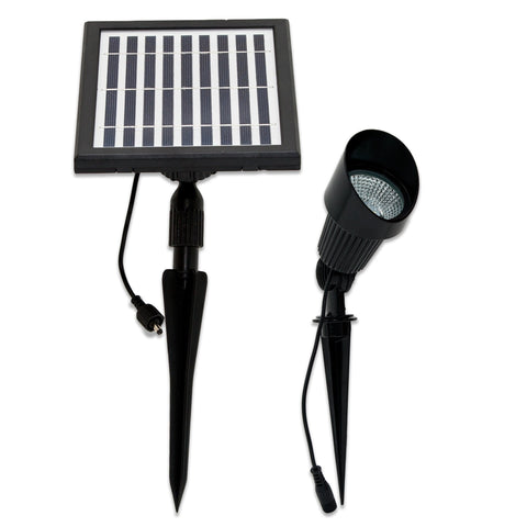 Solar Goes Green  LED Solar Flagpole Spot Light Warm or Bright White 72 Lumens with Solar Panel