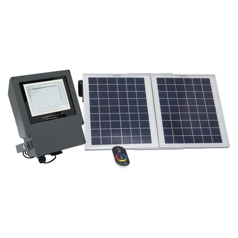 Front View of the Solar Goes Green Remote Control RGB / LED Solar Flood Light