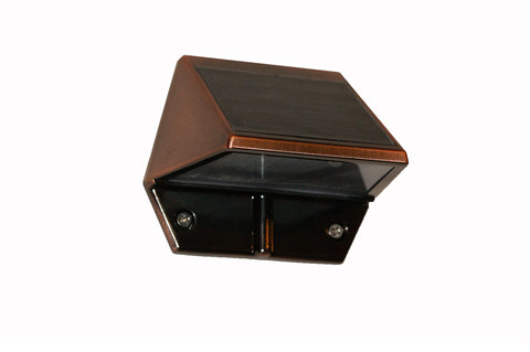 Solar Powered Copper Plated Mountable Deck and Wall Light For Outdoors 2 Count