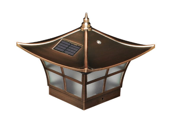 Oriental Copper Solar Powered Fence Cap Light For Outdoor Patio Fence Yard Garden Lighting