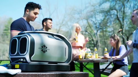 Zero Breeze Mark 2 Portable Air Conditioner at outdoor BBQ