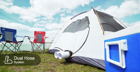 Zero Breeze Mark 2 Portable Air Conditioner dual hose installed in a camping tent
