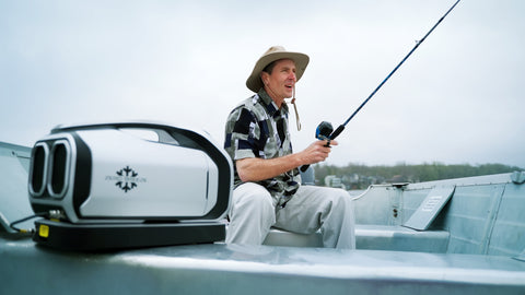 Zero Breeze Mark 2 Portable Air Conditioner man using while fishing