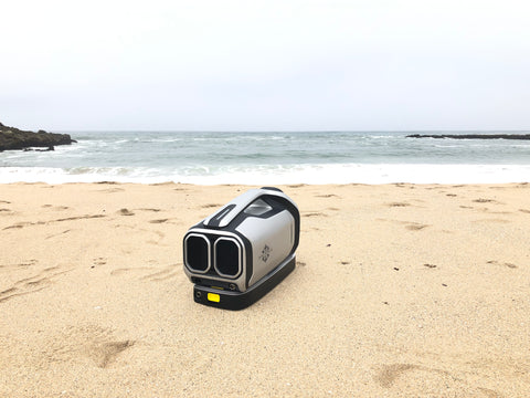 Zero Breeze Mark 2 Portable Air Conditioner sitting at the beach