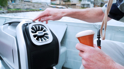 Zero Breeze Mark 2 Portable Air Conditioner used on a boat