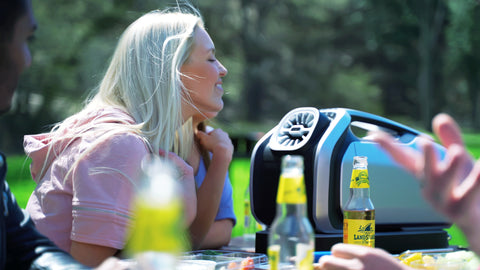 Zero Breeze Mark 2 Portable Air Conditioner used outdoor at a picnic