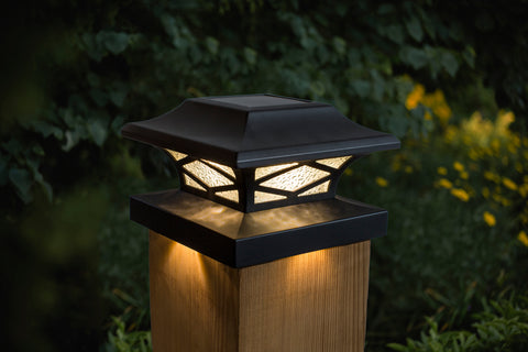 classy-caps-kingsbridge-dual-lighted-solar-post-cap-lights-black-installed-with-adapter