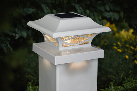 classy-caps-kingsbridge-dual-lighted-solar-post-cap-lights-white-installed-on-white-vinyl-post-with-adaptor