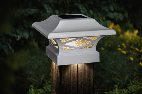 classy-caps-kingsbridge-dual-lighted-solar-post-cap-lights-white-installed-on-wood-post