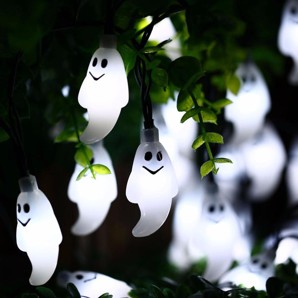 Solar Powered White Halloween Holiday Ghost String Lights