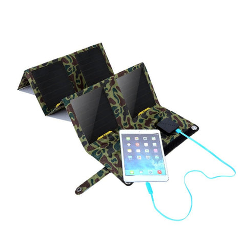 Camouflage Solar Powered Charger Charging a Smart Phone