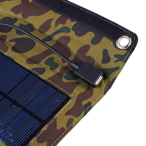 7 Watt Camouflage Folding Solar Panel Charger For Mobile Phones, Tablets, and Devices
