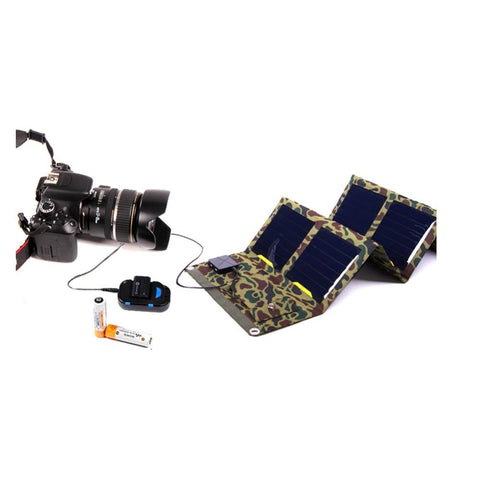 Camouflage Solar Powered Charger Charging a Camera