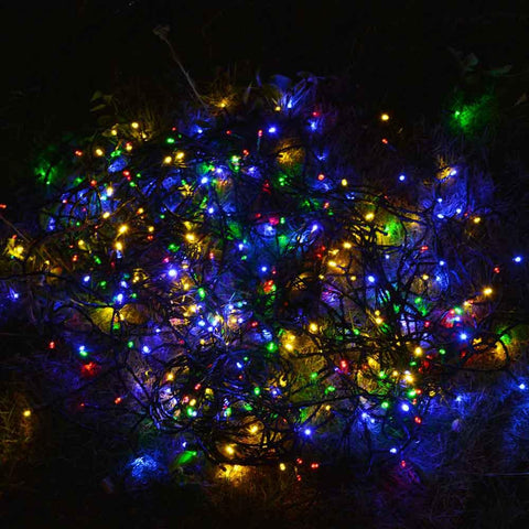 multi coloured solar string garden lights