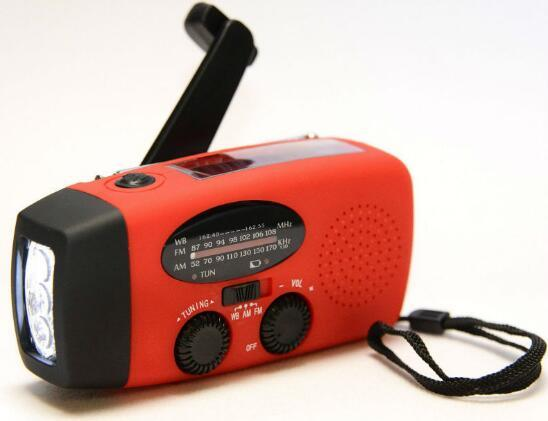 Red Solar Powered Hand Crank Generator For Emergency Use, Hiking, Camping, Light