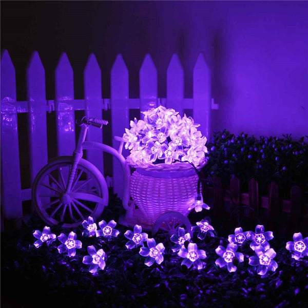 Purple Flower Blossom Solar Holiday String Lights