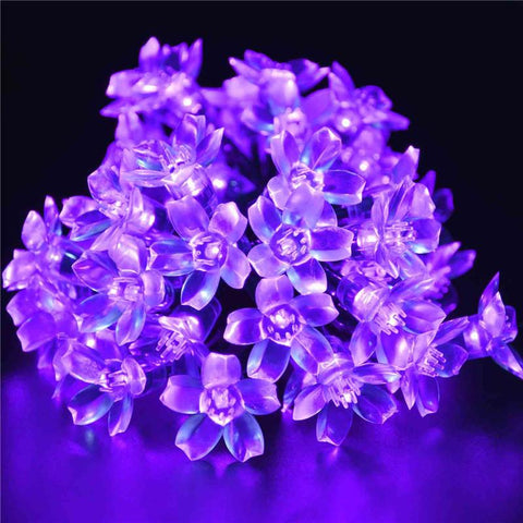 Purple Solar Powered Flower Blossom Fairy Decorative Outdoor String Lights For Garden