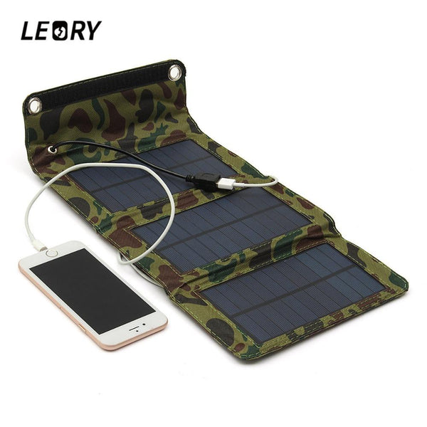 5W Folding Camouflage Solar Panel Charger For Cell Phones,Tablets, and Electronic Devices