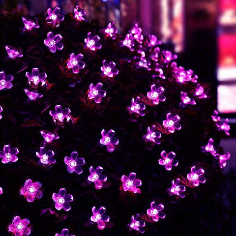 Purple Solar Powered Flower Blossom Fairy Decorative Outdoor String Lights On a Bush