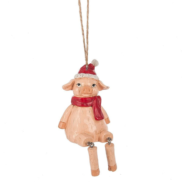 Pink Pig With Dangle Legs Ornament in Resin by Midwest-CBK 133200
