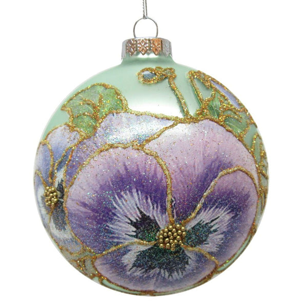 Glass Ball Pansy Hand Painted Oversized Ornament by Midwest-CBK  143745