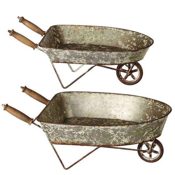 Distressed Mini Galvanized Wheelbarrow Planter set of 2