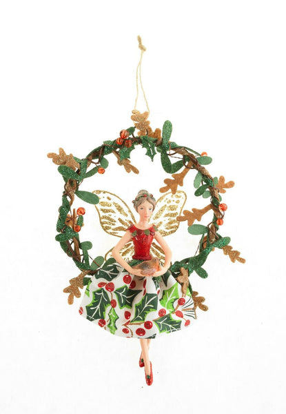 "Silver Tree Festive Tree Ornament: Holiday Cheer Fairy, with Colourful Holly Print Skirt, 7""'"