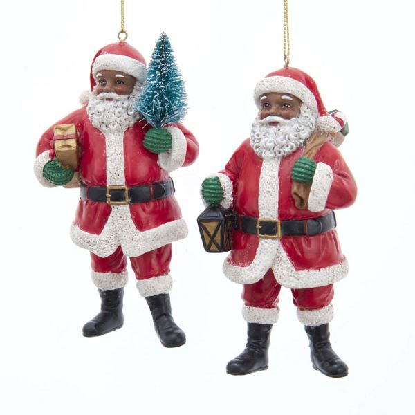 Kurt Adler Black Santa Ornaments Set of 2