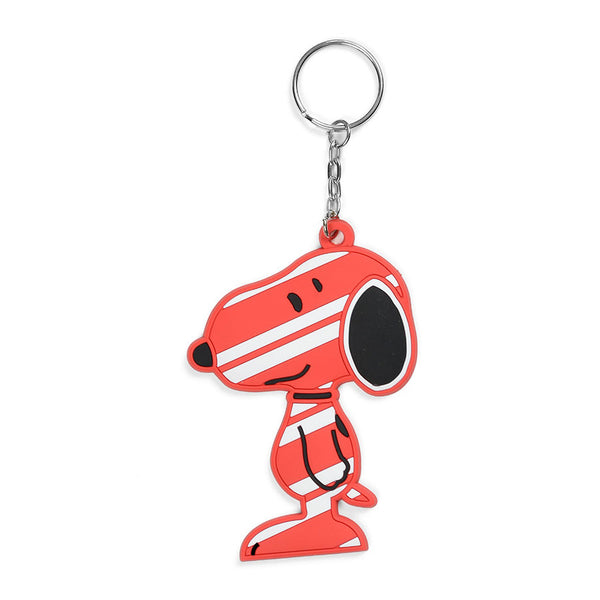 Dept 56 Peanuts Candy Cane Snoopy Red White PVC Keychain