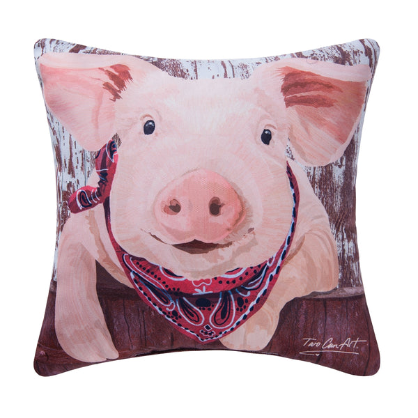 "Two Can Art Pink Pig in Bandana 18"" Decorative Pillow Home Decor by C&F Enterprises"