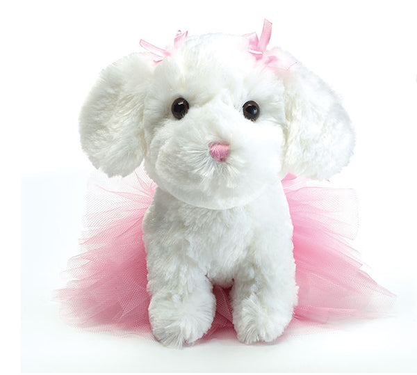 Burton and Burton White and Pink Puppy Ballerina Plush