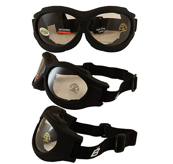 Birdz Buzzard  Motorcycle Goggle Fits Over Glasses With Clear Lens