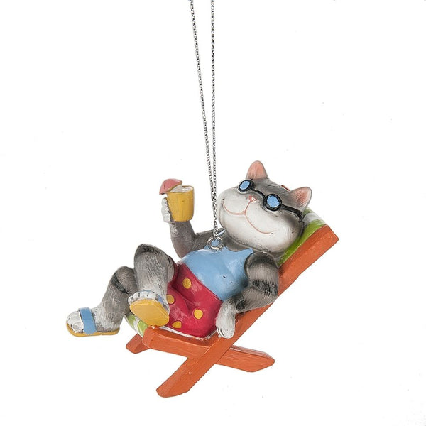 Coastal Cock Tail Cat In Beach Chair Christmas Ornament